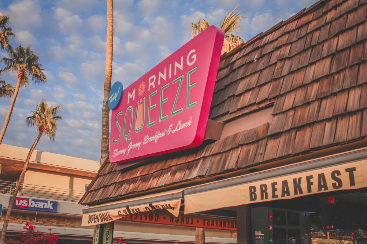 Morning Squeeze open daily for breakfast sign