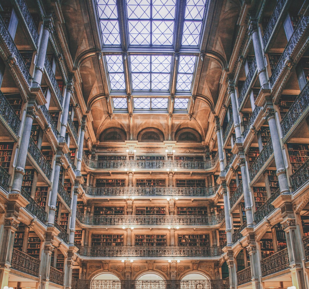 most beautiful libraries in the US: George Peabody Library iconic shot