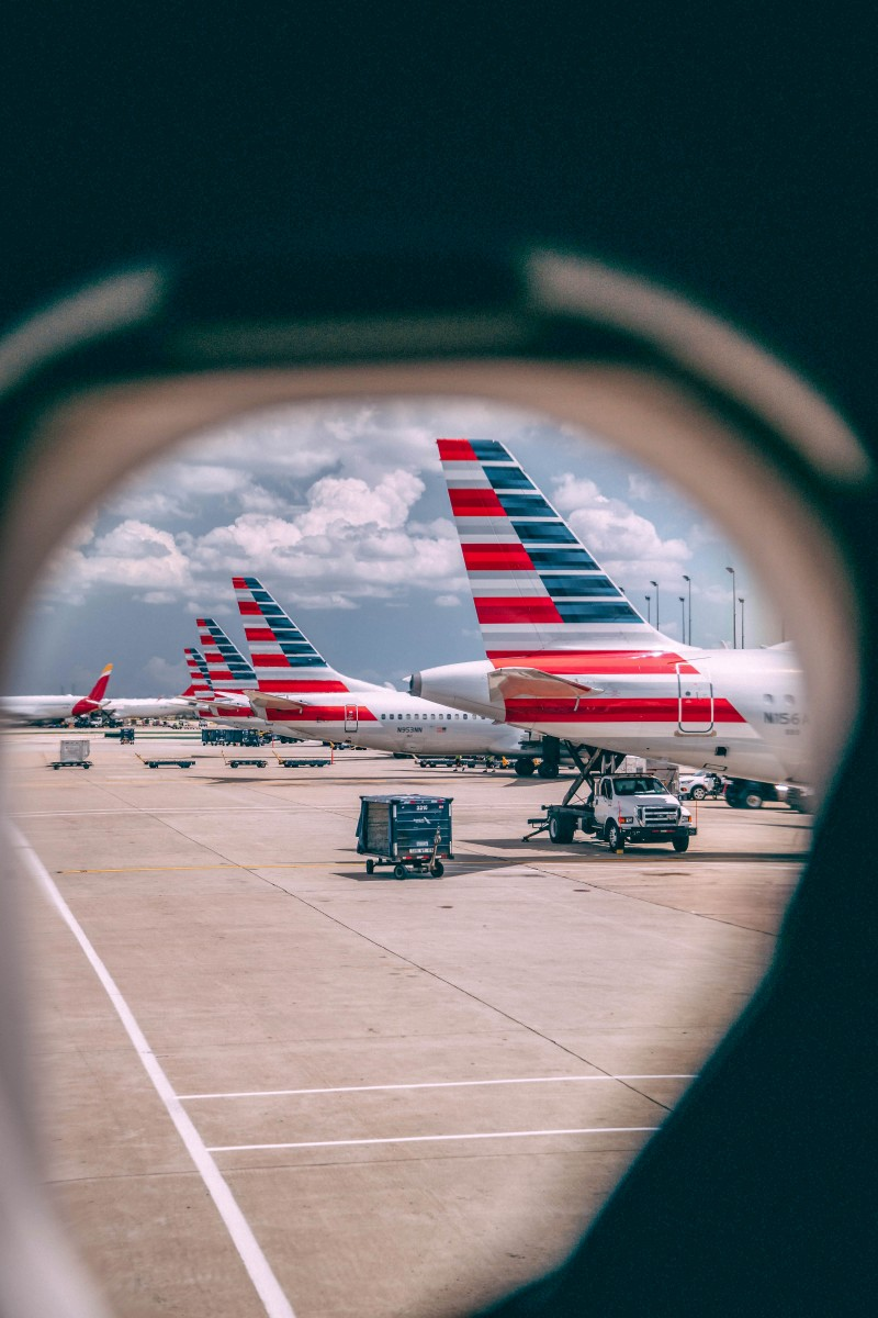 photo of American Airlines through a window