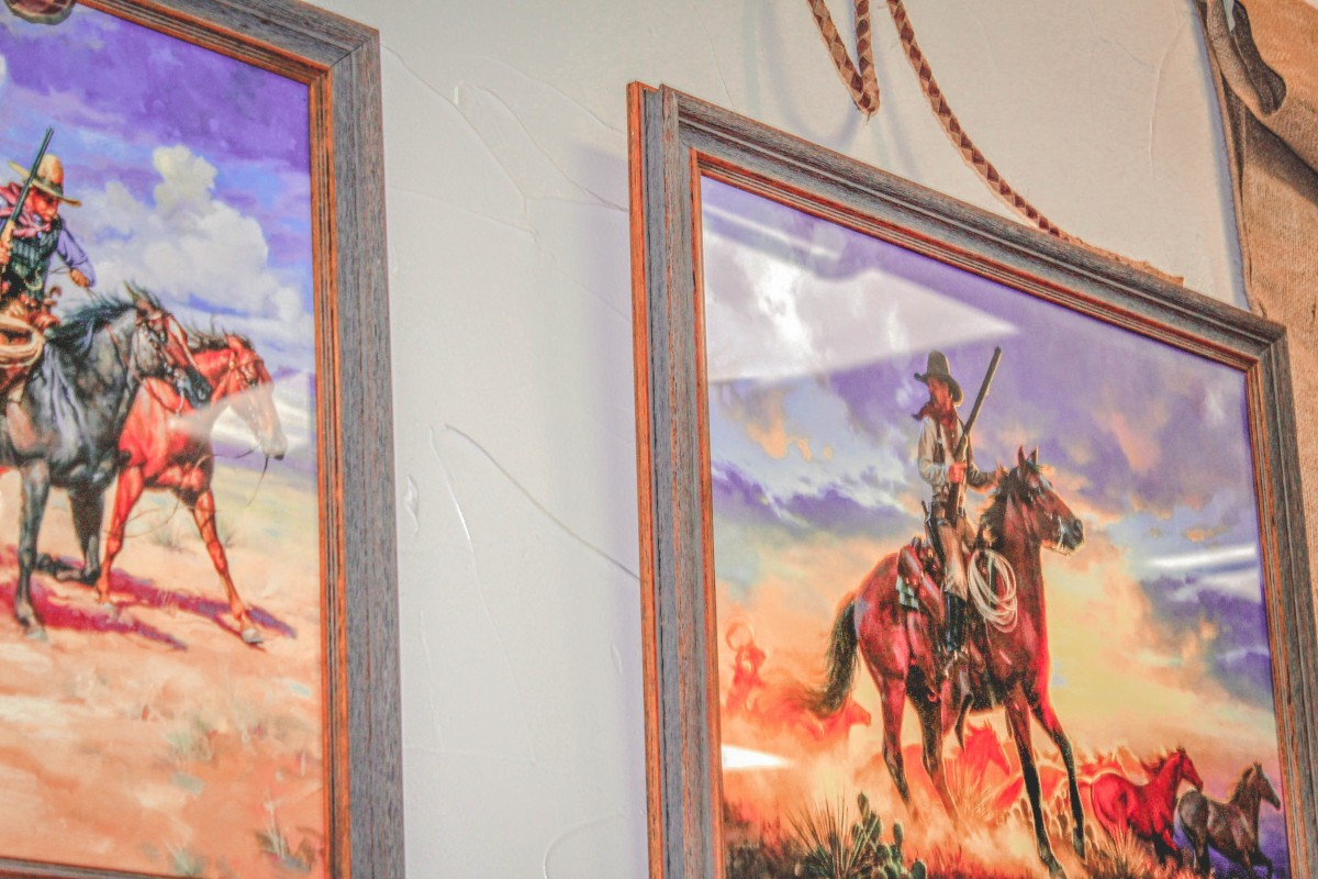 paintings at Youngblood restaurant in Amarillo