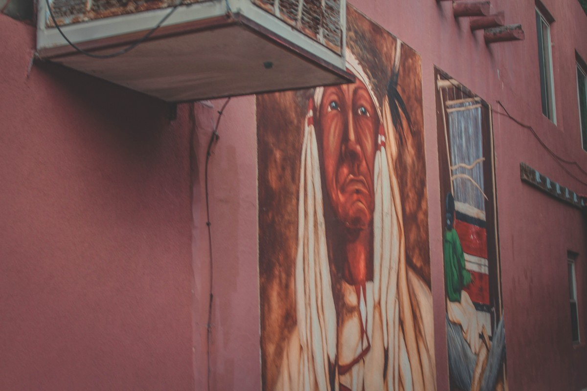Street Art In Manitou Springs: Native American Mural In Alley