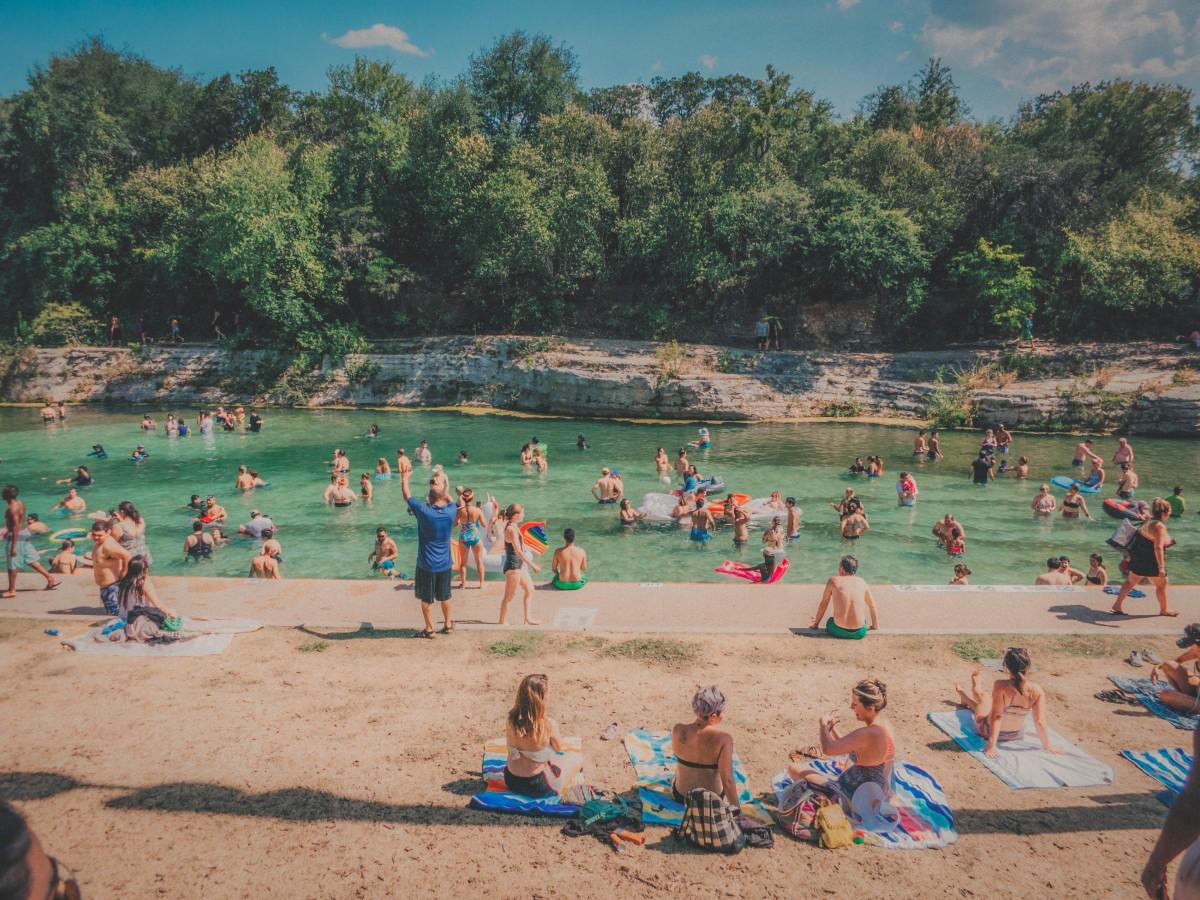 Barton Springs pool party in Austin, Texas