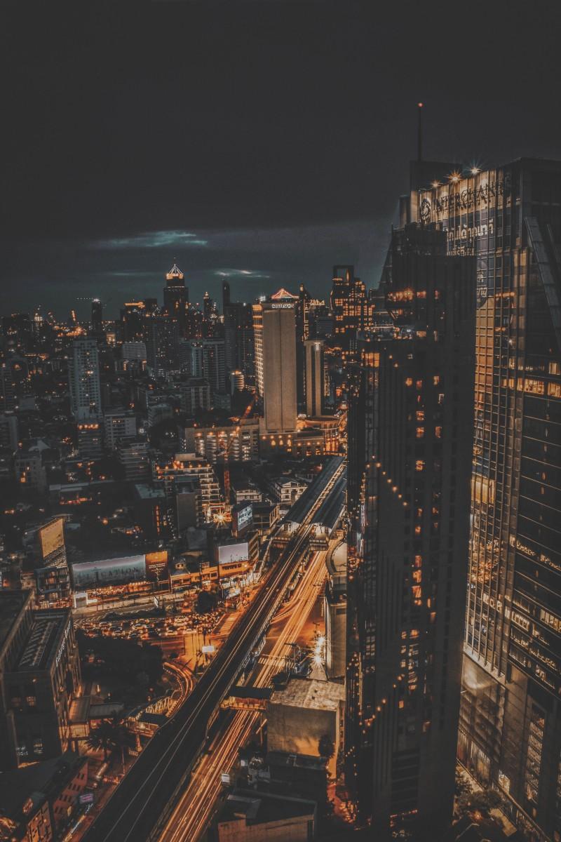 Bangkok, Thailand lit up at night