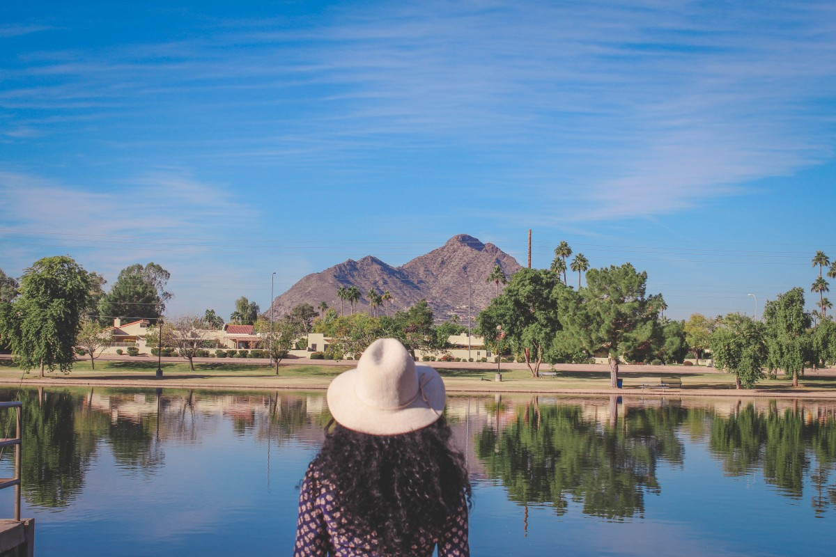 Camelback Mountain mirror lake at Chaparral Park, one of the best parks in Scottsdale