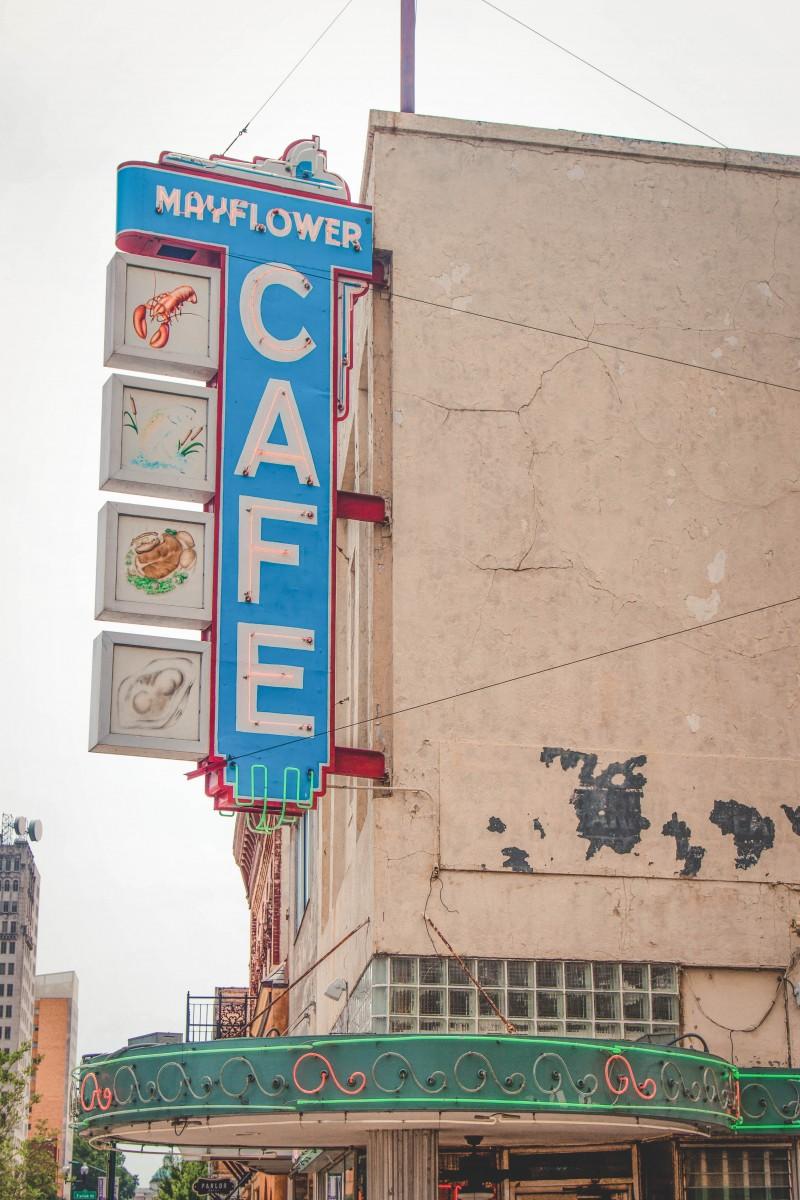 sign for Mayflower Cafe, a dinner restaurant in Jackson Mississippi