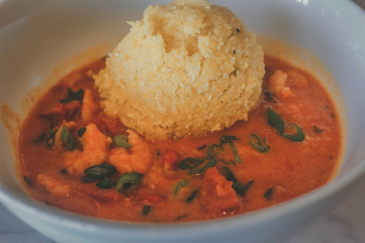 shrimp and cheese grits, a favorite comfort dish in Jackson