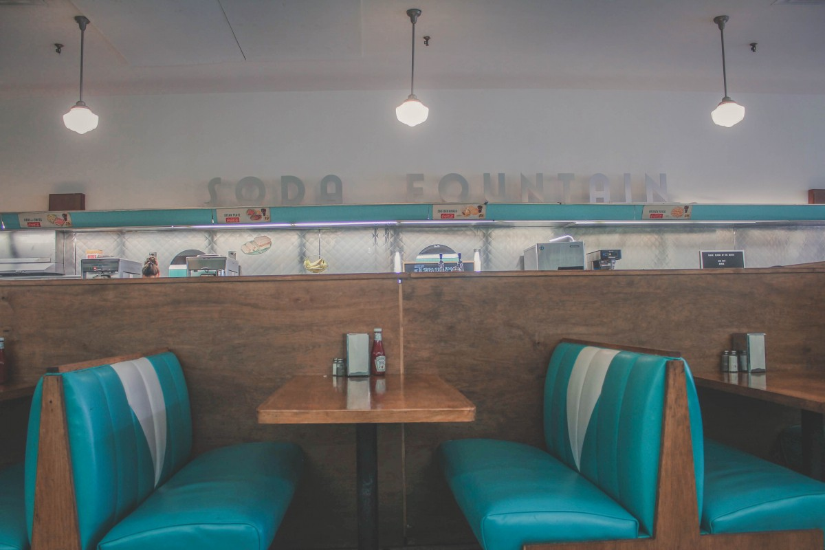 Brent's Drugs soda fountain blue booths from The Help
