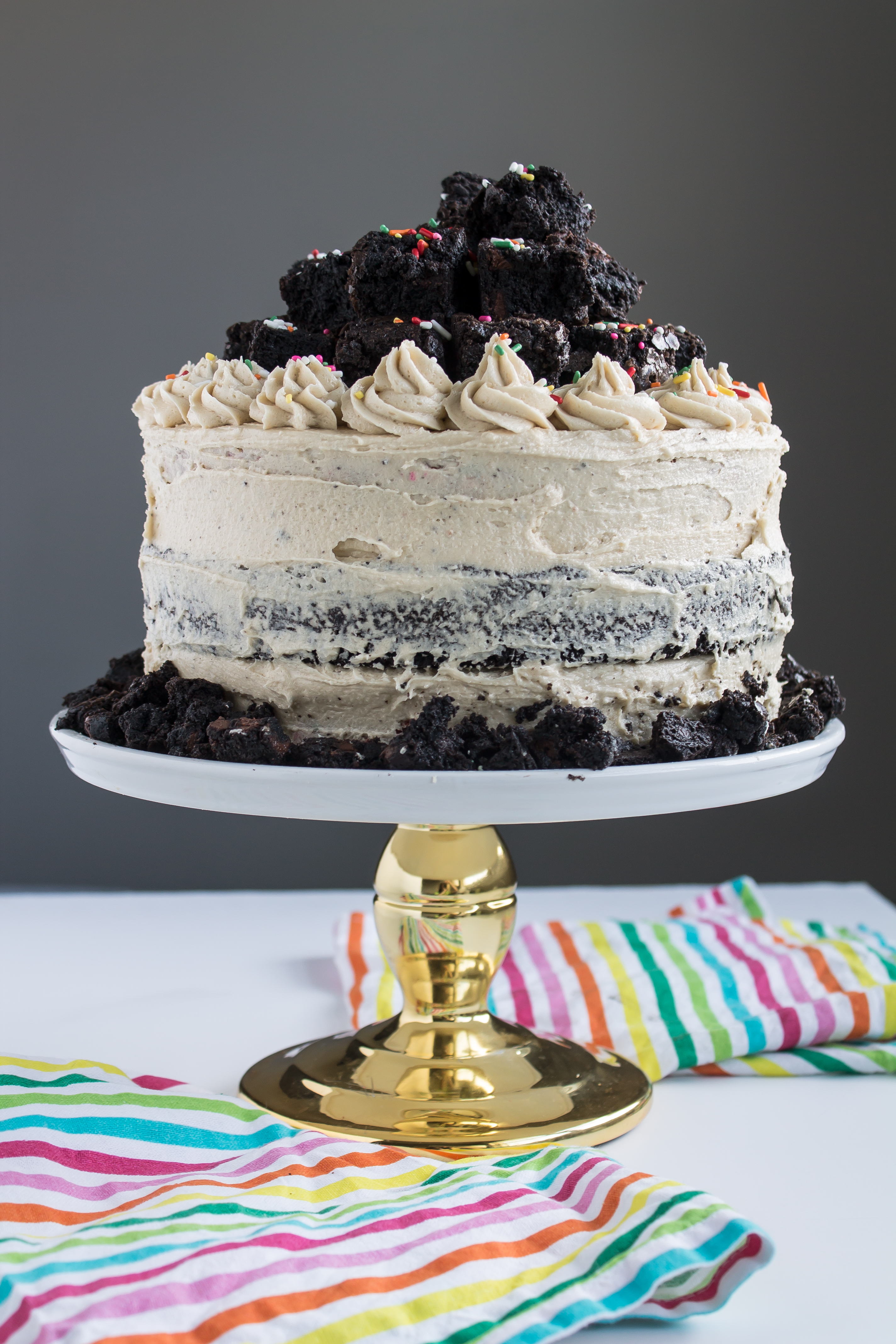 Funfetti Brownie Cake With Cookie Dough Frosting Pass
