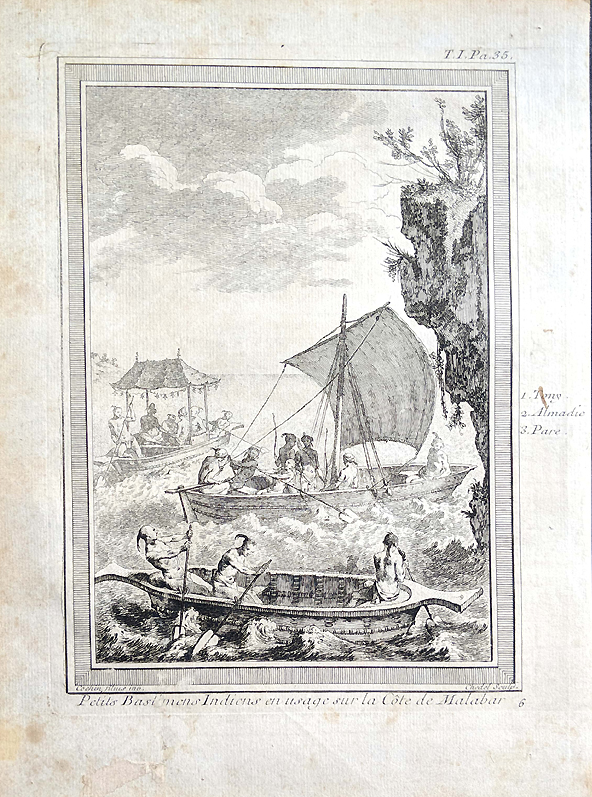 Chinese in small boats off malabar coast