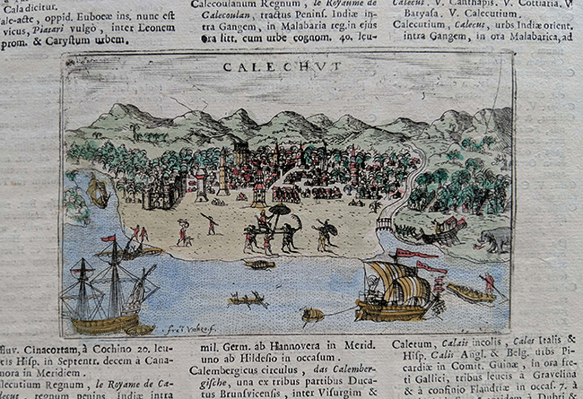 Page From Rare 1713 Latin Book on Calicut