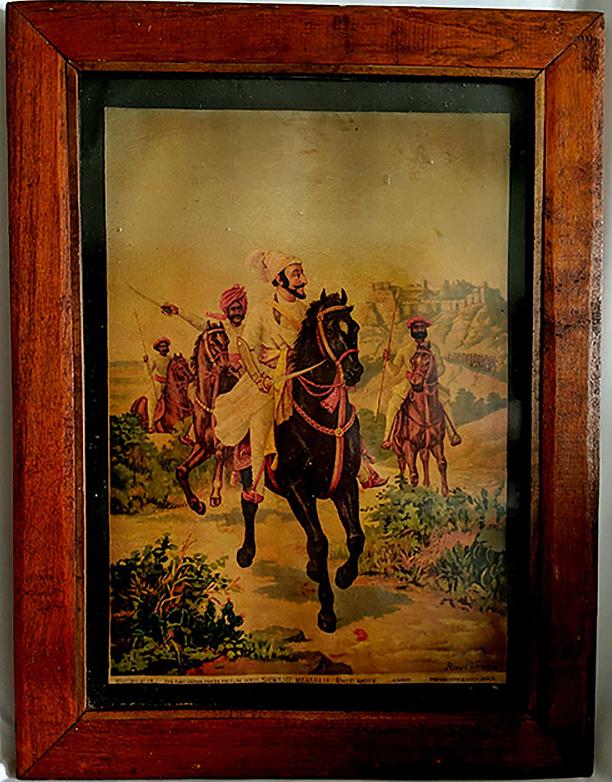 "Vintage Raja Ravi Varma ""Shivaji"" Oleograph Print"
