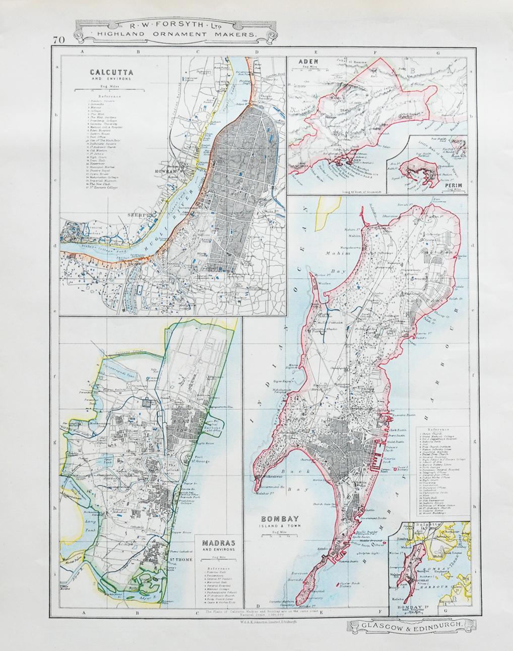 Aden, Bombay, Madras & Calcutta - Vintage Map 1910