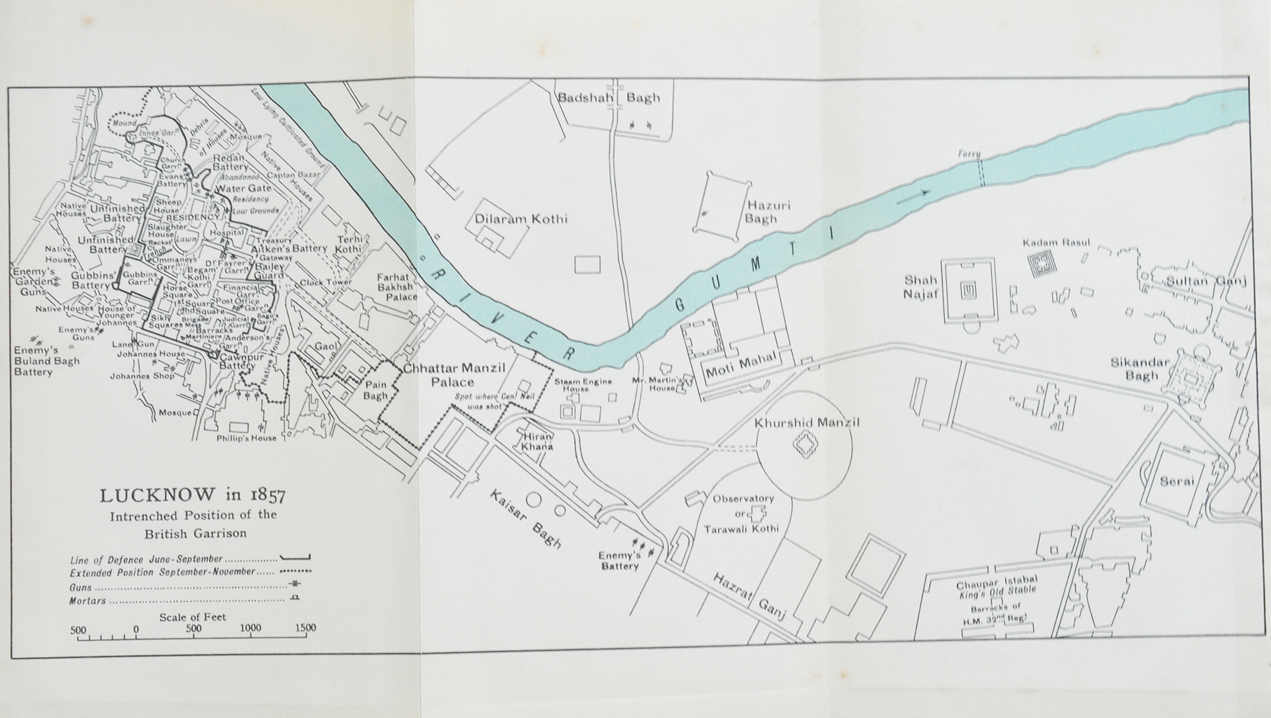 Indian Revolt Lucknow & The Residency - Vintage Map 1900