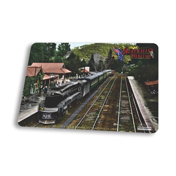 S.A.R. Mt Lofty Train Station and 520 Class Engine c1945 - Mouse Pad - IN COLOUR