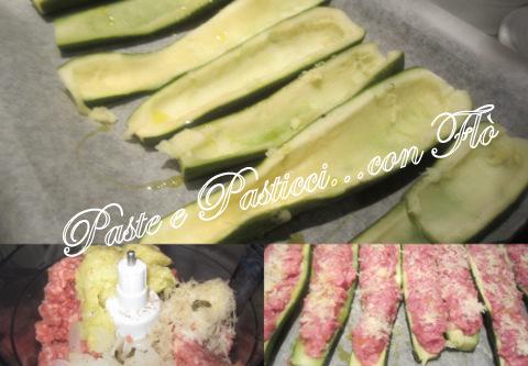 barchette di zucchina ripiene di carne