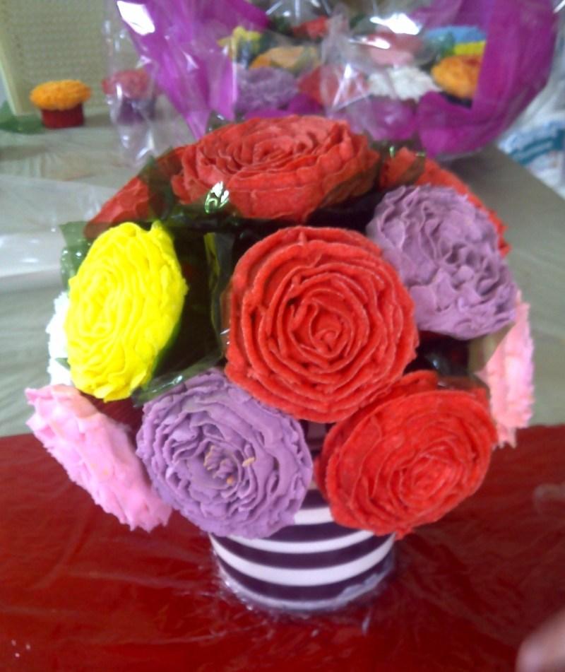 hermosas flores de cupcakes, regalo perfecto para mamá