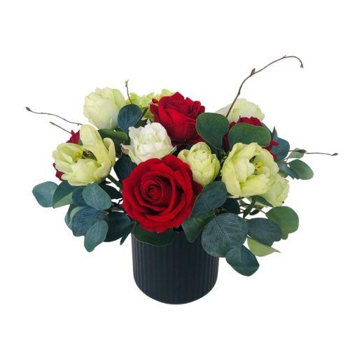 flower arrangement roses tulips