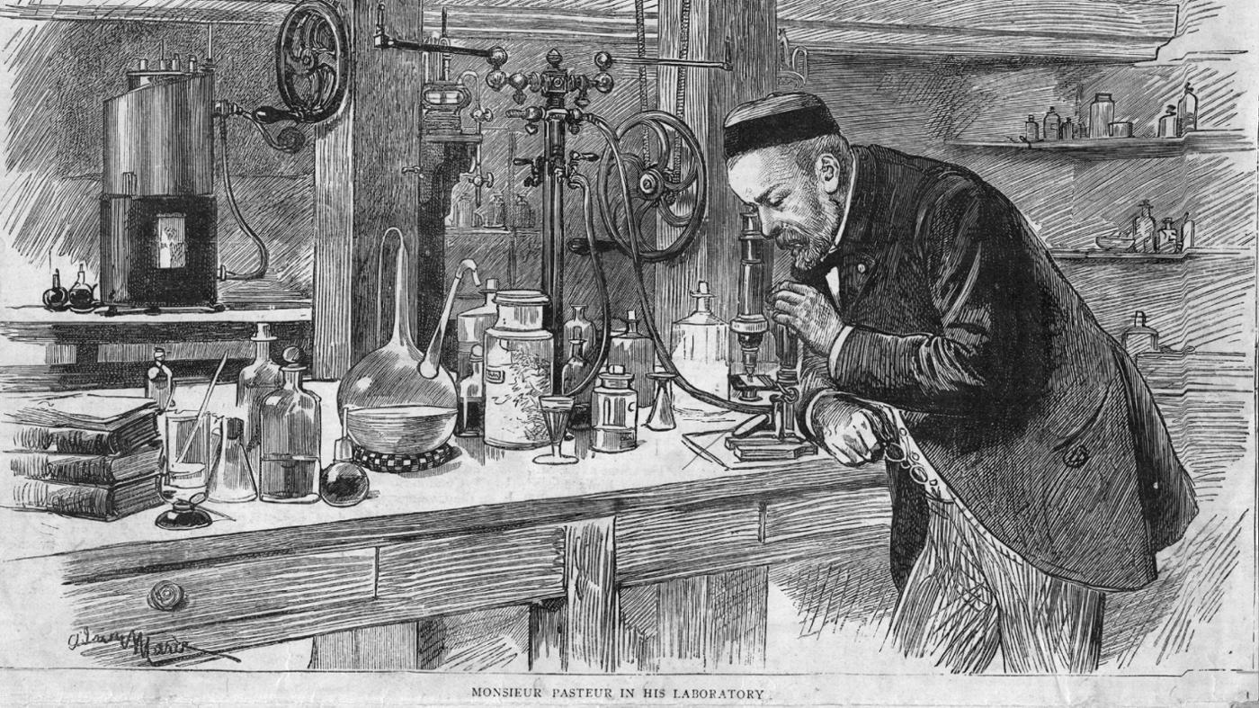 Louis Pasteur Biography And Timeline. Louis Pasteur In His Workshop With  Microscope