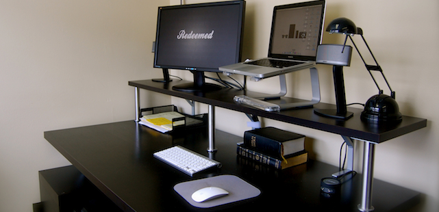 how to build a do it yourself ikea hacked stand up desk pastoralized. Black Bedroom Furniture Sets. Home Design Ideas