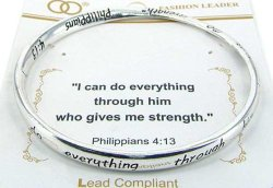Philippians 4:13 Twist Bangle Bracelet