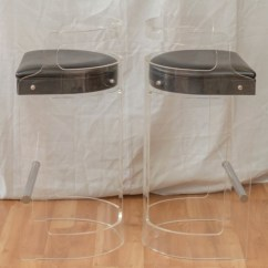 Acrylic Chairs With Cushions High Backed Uk 1970s Pair Lucite Bar Stools By Hill Manufacturing Sold