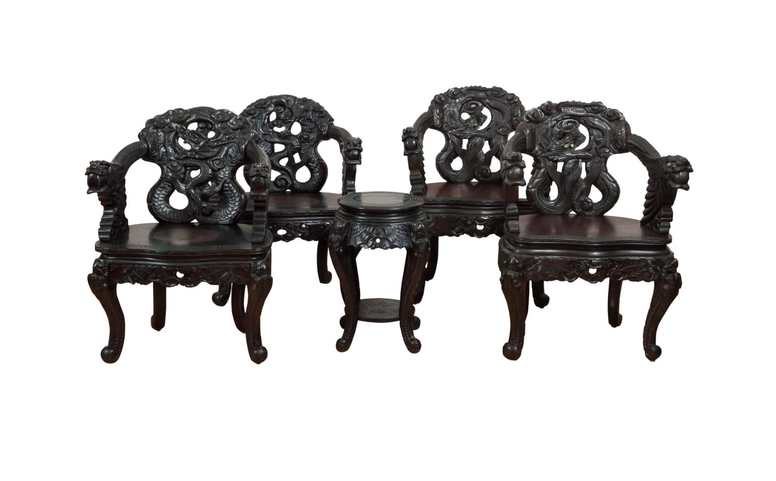 antique chinese dragon chair papasan base set of carved chairs sold past perfect
