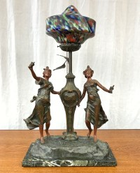 Art Nouveau French Figural Table Lamp in the Manner of L