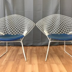 Bertoia Wire Chair Original Rectangular Rubber Glides Pair Of Vintage Harry Diamond Chairs For Knoll