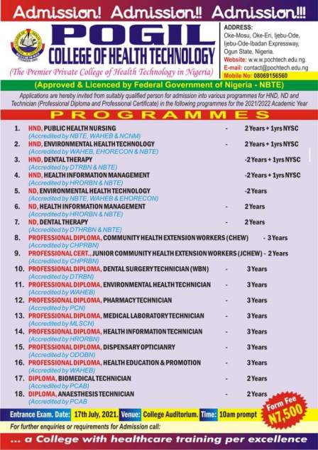 POGIL College of Health Technology Admission Form