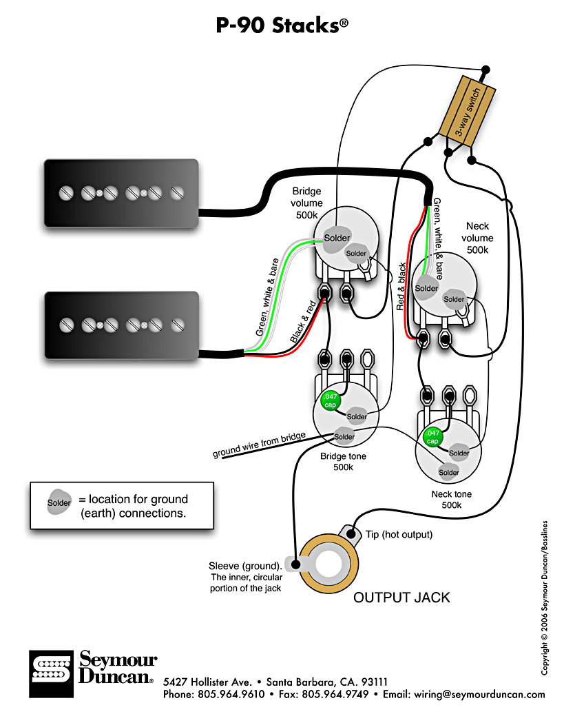 humbucker and p90 wiring diagram