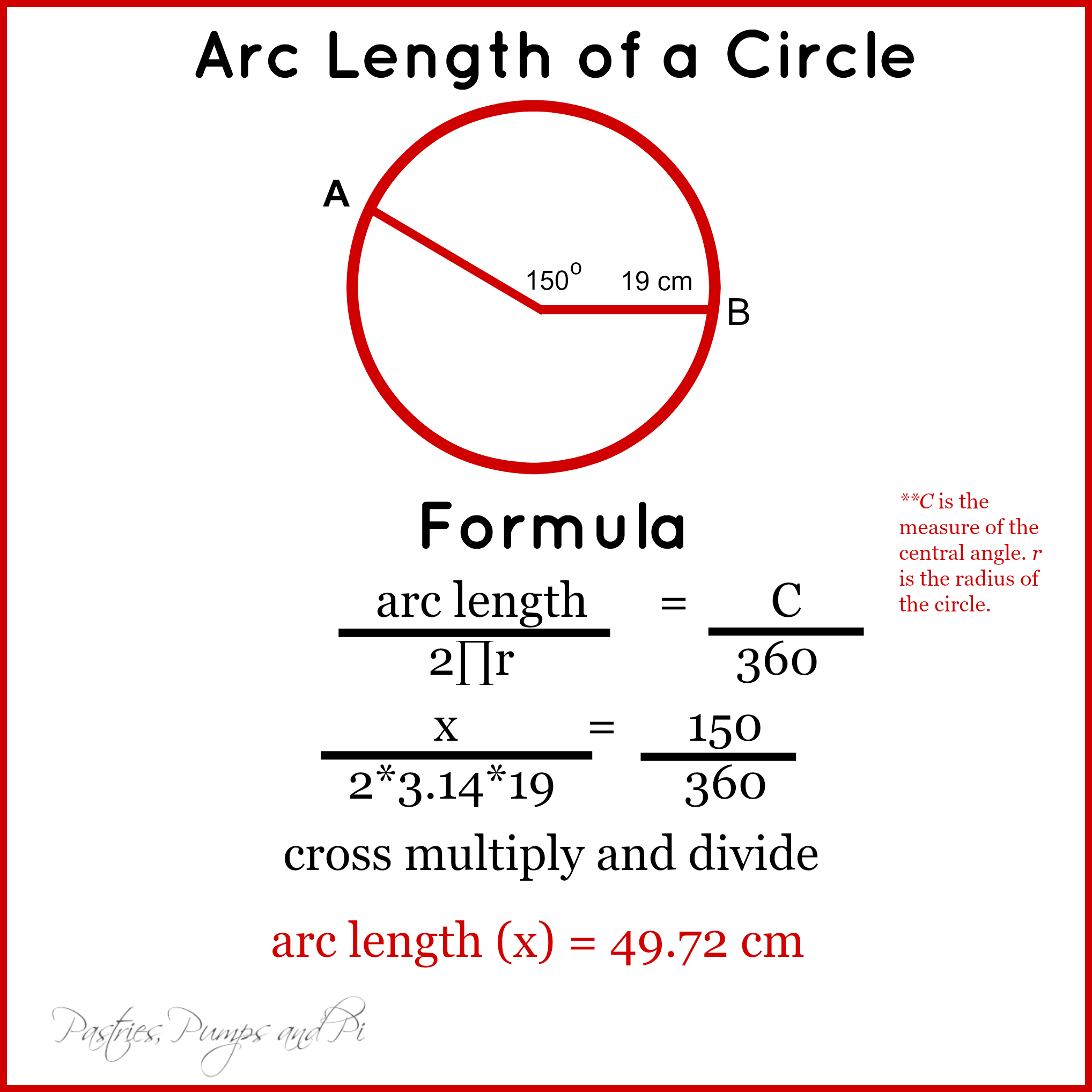 Example Of A Circle Arc Length Formula Pictures To Pin On