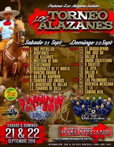 Los Torneo Alazanes on September 21 & . 22, 2019. Pasturas Los Alazanes, Dallas, TX