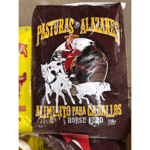 a bag of horse feed from pasturas los alazanes