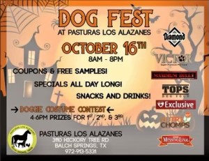 Dog Fest kicks off on October 16, 2021, at Pasturas Los Alazanes in Balch Springs, Texas. Come out for all-day fun, coupons, samples, and special pricing.