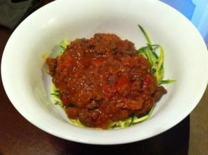 Paleo Zucchini Pasta Bolognese