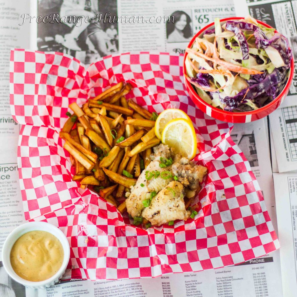 Fried Catfish with Spicy Slaw and Sweet Potato Fries