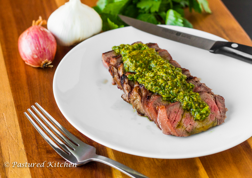 NY Strip with Hatch Chile Chimichurri