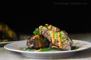 Avocado Goat Cheese Stuffed Burgers with Sriracha Dipping Sauce