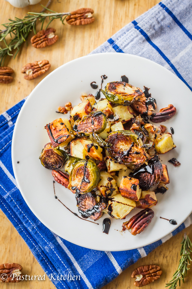 Roasted Sweet Potatoes, Brussels Sprouts and Pecans with Balsamic Drizzle