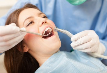 Dentist at work on a patient