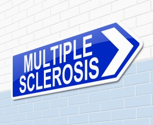 Illustration depicting a sign with a Multiple Sclerosis concept.