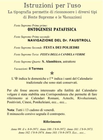 Calendario Patafisico Perpetuo - istruzioni d'uso in Italiano