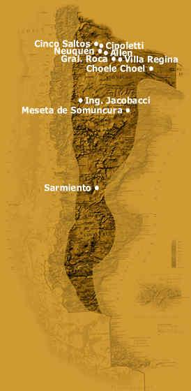 Mapa de la Meseta Patagonia Argentina