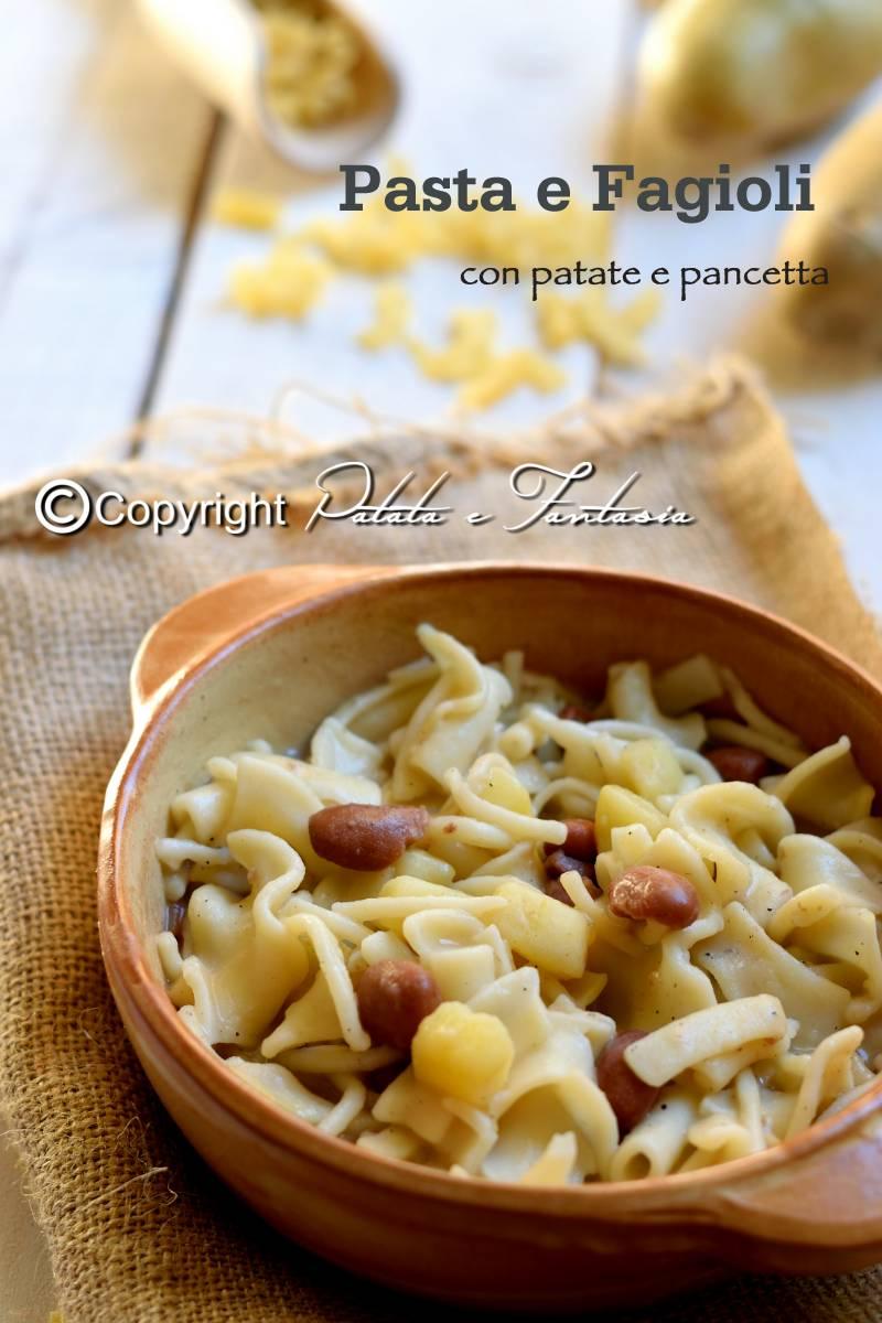 Pasta e fagioli con patate e pancetta  Patata e Fantasia ricette facili e veloci con le patate