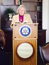Pat Camalliere reading from The Mystery at Sag Bridge, Lemont Rotary, April 28, 2015