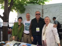 Printer's Row Lit Fest: From left, Sarah Koz, Amika Press designer; Ken Zurski, author of Peoria Stories and The Wreck of the Columbia; John Manos, Amika editor, author of Dialogues of a Crime; Pat Camalliere, author of The Mystery at Sag Bridge