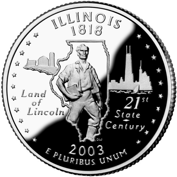 One nickname for Illinois is The Land of Lincoln (which appears on the U.S. Mint's bicentennial commemorative quarter for Illinois).