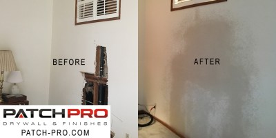 Drywall Before and After Fix - Gormley