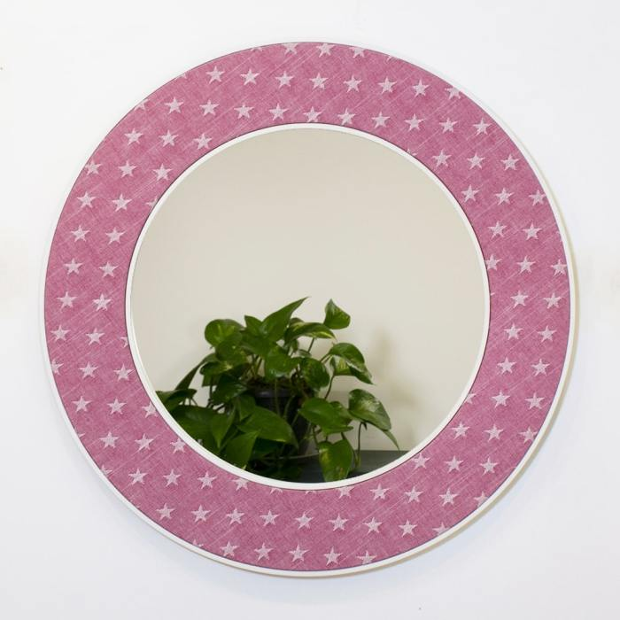 Ella Round Mirror in Pink with Stars