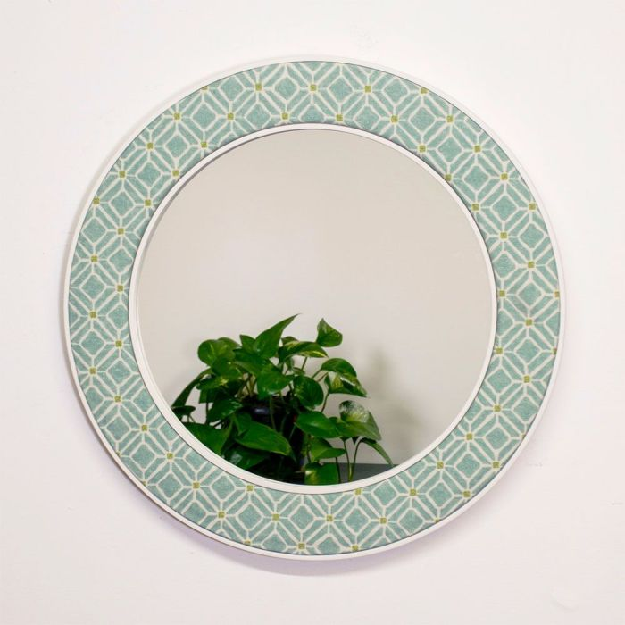 Imogen Mirror in Aqua with reflection